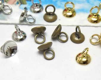 50 Brass Antique Bronze Gold Silver White Gold 6mm 8mm Glass Cover Loop Caps Hanging Head C08363