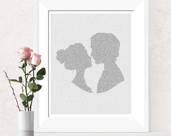 Jane Austen Pride and Prejudice Wall Art Print, Book Lovers Gift, Wall Decor, Literary Gifts, Text Art (AU)