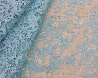 light Blue lace fabric, French Lace, blue chantilly lace, Wedding Lace, Bridal lace, blue Lace, Veil lace, Lingerie Lace, k000096