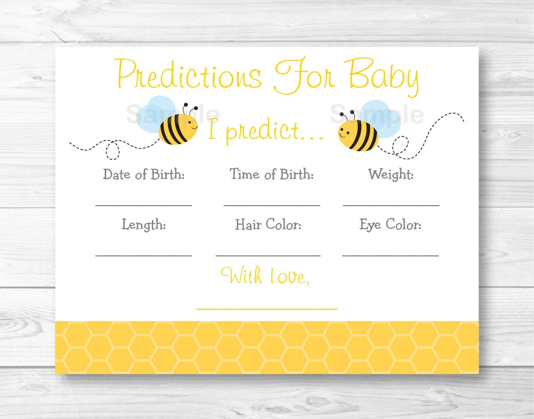 Cute Bumble Bee Baby Predictions Game Shower