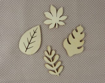Wooden subjects embellishment: big leaves