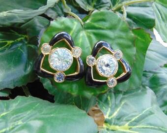 Vintage 1950's, Triangular, Post Earrings, Rhinestones, Shipped Free