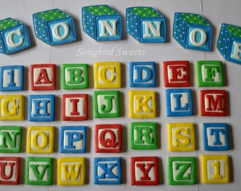 Alphabet Block Cookies with personalized large letter blocks (one dozen alphabet cookies plus name cookies)