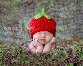 Baby Hat, Newborn Baby Hat, Baby Photo Prop, Strawberry Baby Hat Photo Prop, Knit Baby Hat