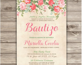 Spanish printable baptism christening invitations burlap cross spanish printable baptism christening invitations roses floral bautizo pink girl bautizo burlap baptism presentacin girl printable stopboris Gallery