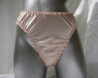 Peach Silk Lingerie Panty Thong in Silk Charmeuse and Hand Embroidered Edges