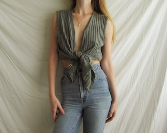 70s Distressed Jaeger Sweater Vest S M