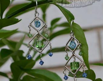 Earrings-Sterling Silver Earrings-Chandelier Earrings-Swarovski Crystal Earrings