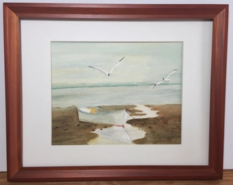 Birds and boat,  original watercolor painting of beach scene, 8x10 painting