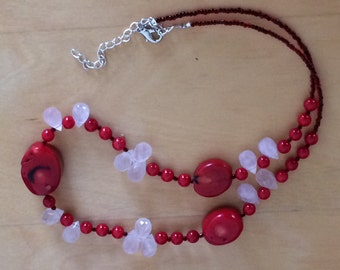 Red Coral Necklace, Genuine Coral Necklace, Beach Coral Necklace