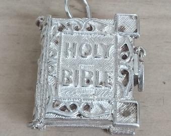 Vintage sterling silver Holy Bible charm, pendant, locket