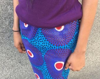 Fuschia and Blue print skirt - US size 2