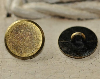Set of 6 Antique Brass 10mm Flat Blank Shank BUTTONS...turn your Cabochon's into Buttons