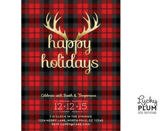 Plaid Holiday Party Invitation / Christmas Party Invitation / Plaid Christmas Invite /  Printable Holiday Invitation / Rustic Holiday Invite