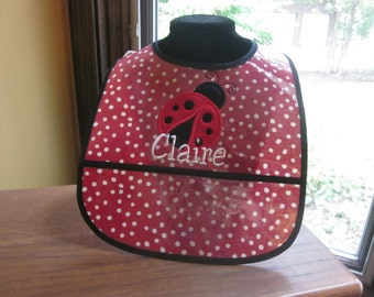 FIRST BIRTHDAY BIB Ladybug Bib with Name Embroidered