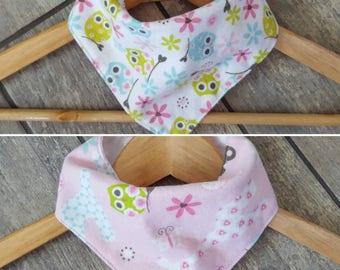 SALE - Reg. 8 dollars - Reversible bandana drool bib - LIMITED EDITION -  cotton flannel - baby girl accessories
