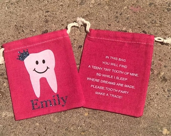 Tooth Fairy Bag, Tooth Fairy, Tooth, Personalized Tooth Fairy Bags, Personalized Bag, Kids Tooth Fairy, Tooth Fairy Pouch, Tooth Pouch