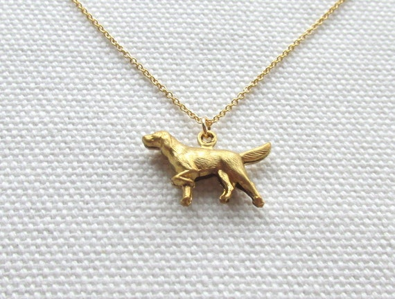 Gold Dog Necklace Cute Tiny Golden Retriever Minimalist