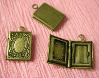 4pc 17x11mm antique bronze locket pendant-2106