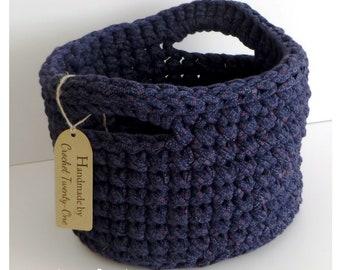 Home Decor/ Storage Basket/ Crochet Bowl / Crochet Storage Container - Eco Friendly Storage - Navy Blue (large)