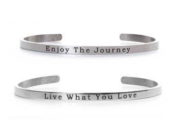Stainless Steel Positive Quote Open Cuff Bangle Bracelet