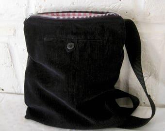 Handmade Recycled Dark Navy Corduroy Messenger Bag