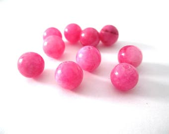 10 pearls marbled pink natural jade 8mm (31)