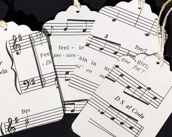 Music Gift Tags- 15 recycled vintage sheet music tags, hang tags, wedding favor tags, party favor tags, holiday tags, music notes tags