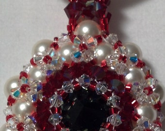 13007 - Red Hot Rivoil-Pearl Pendant
