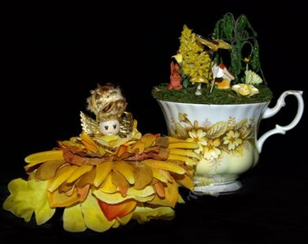 Faerie Buttercup and her Teacup Nursery, Fairy, OOAK