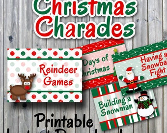 Christmas Charades Printable PDF - Party Game Printable - INSTANT DOWNLOAD