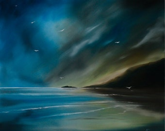 Born on the wind, oil painting, oils on canvas, wall art, original oil painting, seascape, seascape painting, landscape, landscape painting,