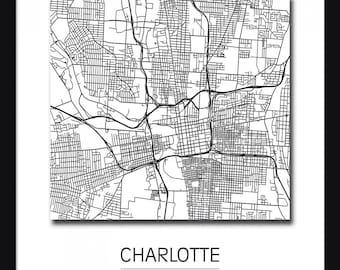 Charlotte Map - Art Print - Poster