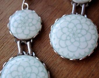 Bridal Earrings, Mexican wedding, Quinceanera, dangle, jewelry, Mexican Folk art, ceramic tile design, sea foam green, off white