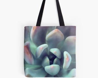 Gardening Gift, Succulent Photo Canvas Tote Bag, Book Bag, Market Bag, Photo Canvas Bag, Green Tote Bag, Shopping bag, Reusable Bag