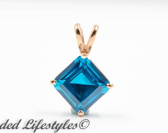 Mother Day, Wedding Gift 14 Karat Rose Gold Blue Zircon Pendant Necklace