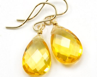 Yellow Citrine Quartz Earrings faceted Teardrop Dangle 14k gold filled or Sterling Silver Spyglass Designs Bright Yellow Pear Shaped Drops
