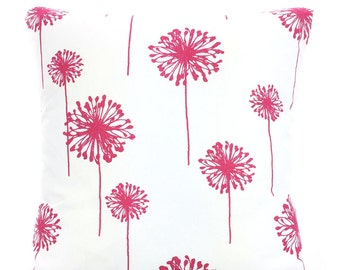 Pink Dandelion Pillow Covers, Cushions, Throw Pillow, Decorative Pillow, Candy Pink White Dandelion, Euro Sham, One or More ALL SIZES