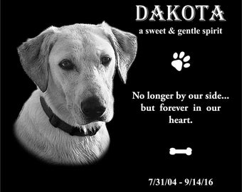 """8""""x6"""" Personalized Pet Headstone, tombstone Laser Engraved on the Grave Marker Granite, Pet Monument, Dog stone"""