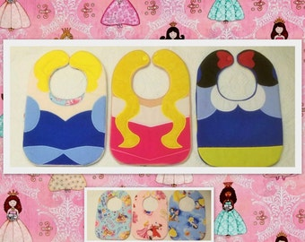 Princess Character Bibs ,Cinderella,Sleeping Beauty,Snow White