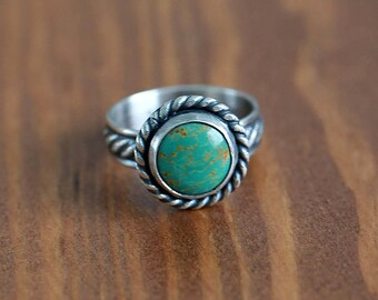 Green Kingman Turquoise Ring, Sterling Silver Ring -- Choose your size