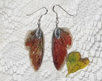 Mini Fairy Wing Earrings - Gifts for Gardeners - Autumn Jewelry - Leaf Earrings - Nature Inspired Jewelry - Falling Foliage Collection