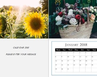 Floral 2018 Beautiful Photo Calendar A4, A3  unique gift ideas, use your photos (Ayana)