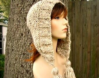 Knit Hat Womens Hat Knit Hood - Tassel Hat Oatmeal Knit Hat - Oatmeal Hat Oatmeal Hood Oatmeal Ear Flap Hat Warm Winter Hat - READY TO SHIP