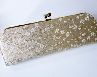Vintage Gold and Ivory Brocade Evening Clutch Purse
