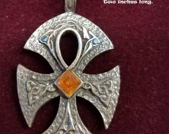 Celtic Ankh necklace made of pewter with crystal stones.