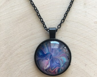 "1"" Black and Glass Necklace Pendant #40 Multicolored"