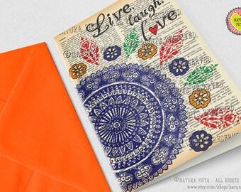 Hand-drawn mandala Greeting Card-Live laugh love card-4x6 card-Birthday card-mandala card-Dictionary quote card-design NATURA PICTA NPGC086