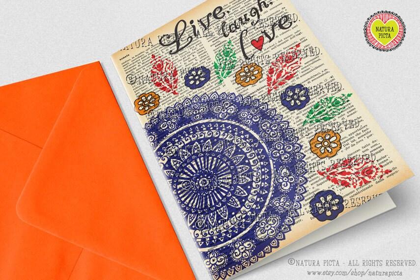 Birthday Cards Live ~ Hand drawn mandala greeting card live laugh love card