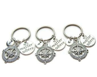 3 Best Friends Keychains, No Matter Where Keychains, Compass Keychains, Sisters Keychains,Mother Daughter Keychains, Personalized